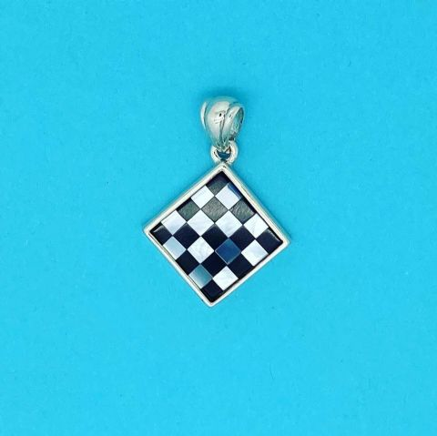 Genuine 925 Sterling Silver Square Pendant Inlaid With Onyx And Mother Of Pearl